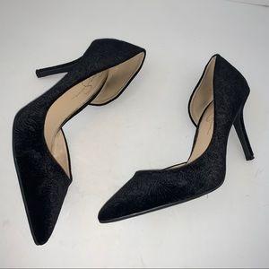 Jessica Simpson Black Embossed Velvet Heel Pump